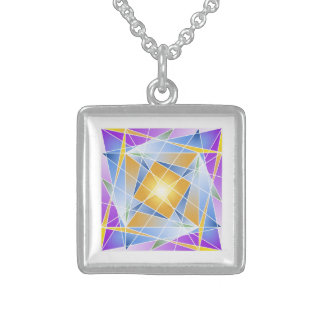 Priya Vrata in pure Sterling Silver Square Pendant Necklace