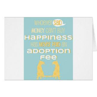 Pro-Adoption Shirt - Cat - Blue and Yellow Greeting Card