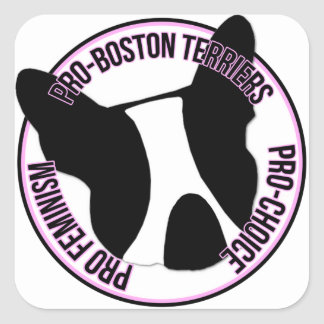 Pro Boston Terriers, Pro Feminism, Pro Choice Square Sticker