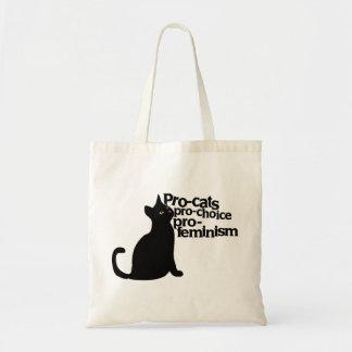 pro-cats pro-choice pro-feminism budget tote bag
