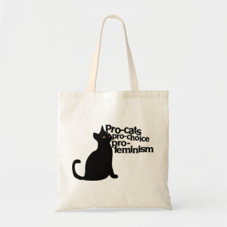 pro-cats pro-choice pro-feminism tote bag