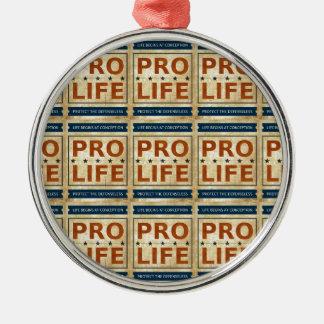 Pro Life Billboard Silver-Colored Round Decoration