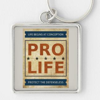 Pro Life Billboard Silver-Colored Square Key Ring