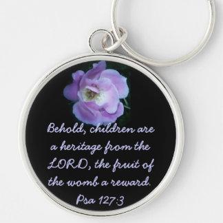 Pro Life- Psa 127:3 - purple Silver-Colored Round Key Ring
