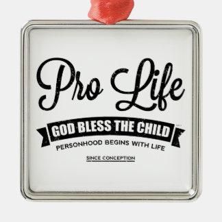 Pro Life Silver-Colored Square Decoration