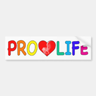 """""""PRO LIFE"""" (WITH BABY IN HEART & RAINBOW LETTERS) BUMPER STICKER"""