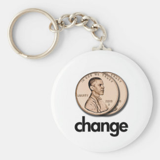 PRO OBAMA CHANGE BASIC ROUND BUTTON KEY RING