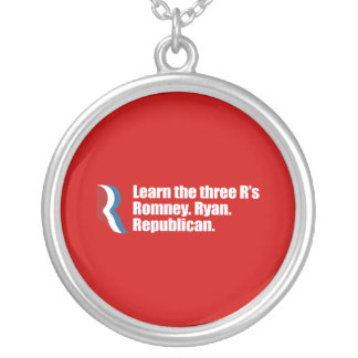 PRO-ROMNEY - LEARN THE THREE R'S - ROMNEY RYAN REP SILVER PLATED NECKLACE