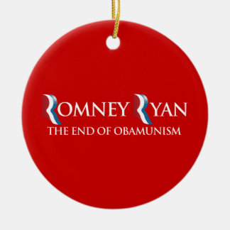 PRO-ROMNEY - THE END OF OBAMUNISM -- .png Round Ceramic Decoration