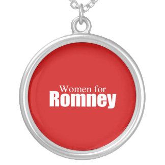 PRO-ROMNEY - WOMEN FOR ROMNEY -- .png Round Pendant Necklace
