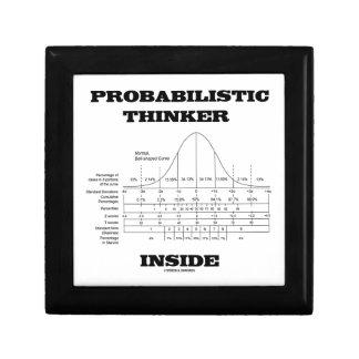 Probabilistic Thinker Inside (Bell Curve Humor) Trinket Boxes