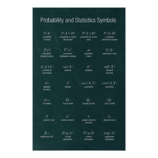 Probability and Statistics Symbols Poster