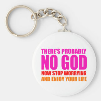 Probably No God Basic Round Button Key Ring