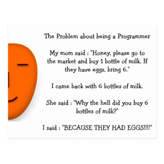 Problem about being a Programmer Funny Mom Joke Postcard