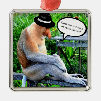 Proboscis Monkey...Does this hat make my nose... Christmas Ornament