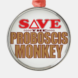 Proboscis Monkey Save Silver-Colored Round Decoration