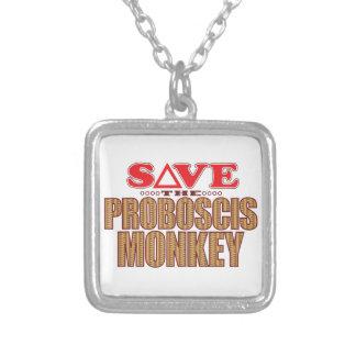 Proboscis Monkey Save Silver Plated Necklace