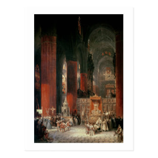 Procession in Seville Cathedral 1833 oil on canv Postcard