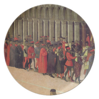 Procession in St. Mark's Square, detail of musicia Plate