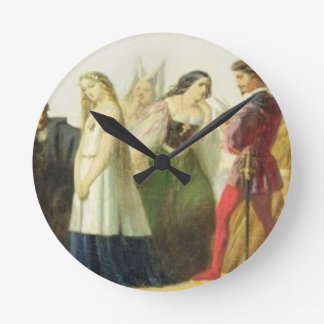 Procession of characters from Shakespeare (oil on Round Clock