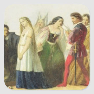 Procession of characters from Shakespeare (oil on Square Sticker