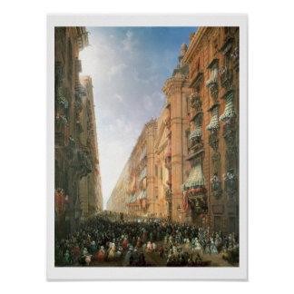 Procession of Corpus Christi in Via Dora Grossa, T Poster