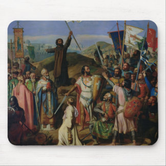 Procession of Crusaders around Jerusalem Mouse Mat