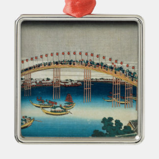 Procession over a Bridge (colour woodblock print) Christmas Ornament