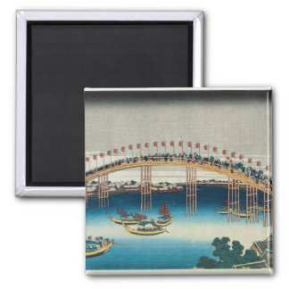 Procession over a Bridge (colour woodblock print) Magnet