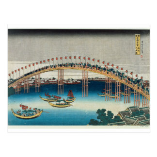 Procession over a Bridge (colour woodblock print) Postcard