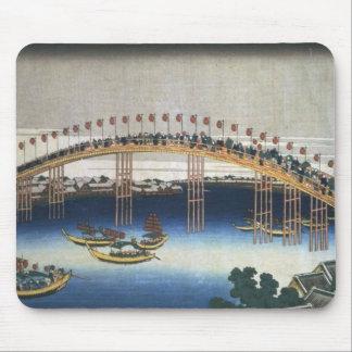 Procession Over A Bridge Vintage Japanese Print Mouse Pad