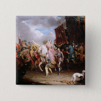 Procession to the Roiall Justs Holden in Smithfiel 15 Cm Square Badge