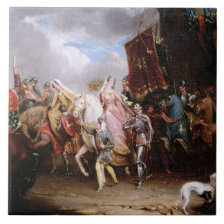 Procession to the Roiall Justs Holden in Smithfiel Large Square Tile