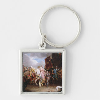 Procession to the Roiall Justs Holden in Smithfiel Silver-Colored Square Key Ring