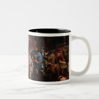 Procession to the Roiall Justs Holden in Smithfiel Two-Tone Coffee Mug