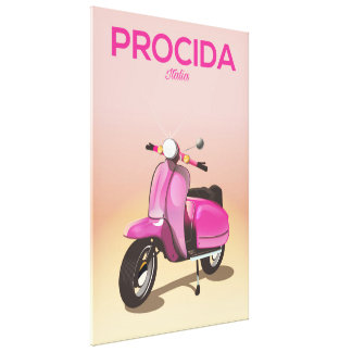 Procida Italy scooter vacation poster Canvas Print