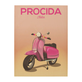 Procida Italy scooter vacation poster Wood Canvases
