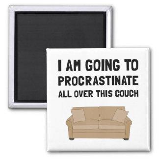Procrastinate Couch Square Magnet