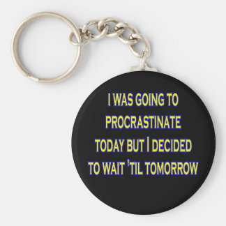procrastinate irony basic round button key ring