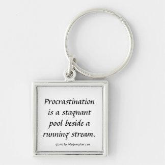 Procrastination Silver-Colored Square Key Ring