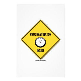 Procrastinator (Clock) Inside Warning Sign Custom Stationery