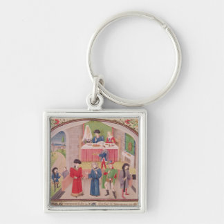 Prodigality, Liberality and Greed Silver-Colored Square Key Ring