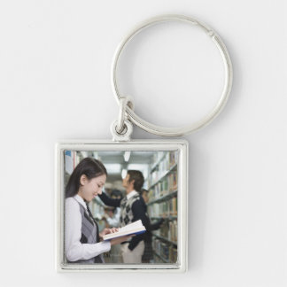 Produced in Beijing, China Silver-Colored Square Key Ring