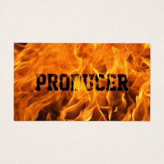 Producer Bold Text Burning Fire Business Card