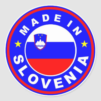 product country flag label made in slovenia round stickers