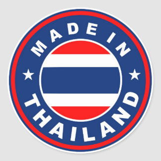 product country flag label made in thailand round sticker