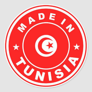 product country flag label made in tunisia round stickers