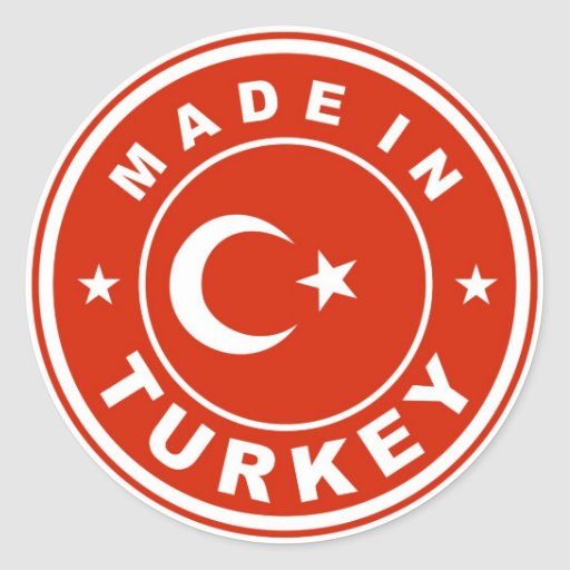 product country flag label made in turkey round sticker