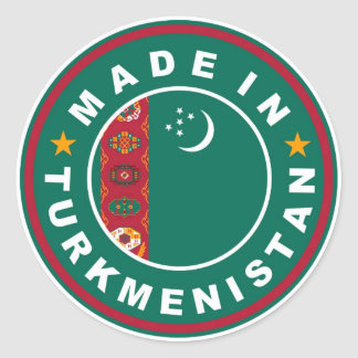 product country flag label made in turkmenistan round sticker