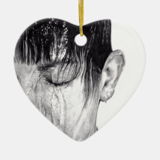 Product featuring artwork 'The Flow' Ceramic Heart Decoration